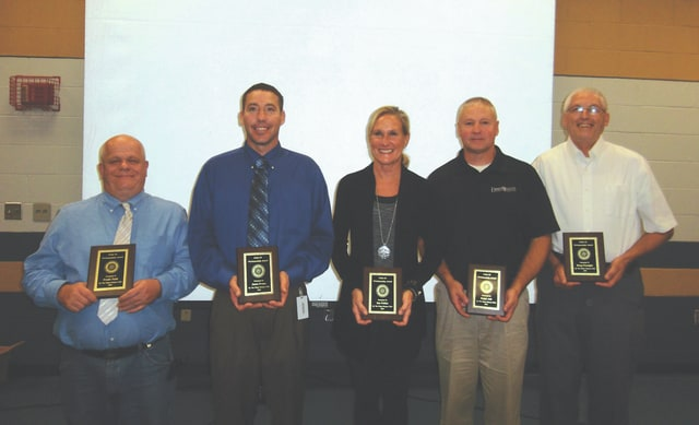 Provided photo Piqua Rotary Club Pride of Workmanship Award winners are, left to right, Frank Nash, Jason Evans, Sue Peltier, Ralph Ash and Doug Fosnight.