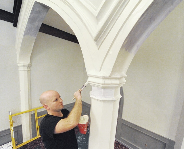 Anthony Weber | Troy Daily News Brian Spirito, a church elder for Gospel Community Church, paints the sanctuary of the new Gospel Community Church in Troy. The core team plans to open the doors of the new church on January 1, 2017.