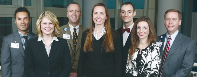 Provided photo The Miami County Surgeons team includes, left to right, Patrick Larreategui MD,, Amy Frantz, Zachary Simmons MD, Erika Penrod, Zachary Simmons MD, Melinda Duff and Stuart Lowry MD.