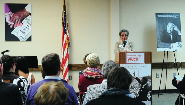 Mike Ullery | Daily Call Piqua native Colleen Clemens McMurray speaks about, <em>To Be Black: One Woman's Journey in Ohio</em>, at the annual Piqua YWCA Martin Luther King, Jr. Celebration on Monday.