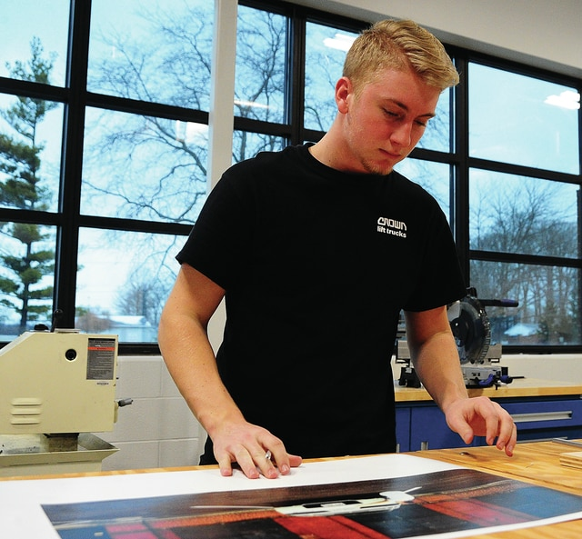 Mike Ullery   Daily Call Zach Miller of Piqua works on a project in his Pre-Engineering and Design class at the Upper Valley Career Center on Friday.