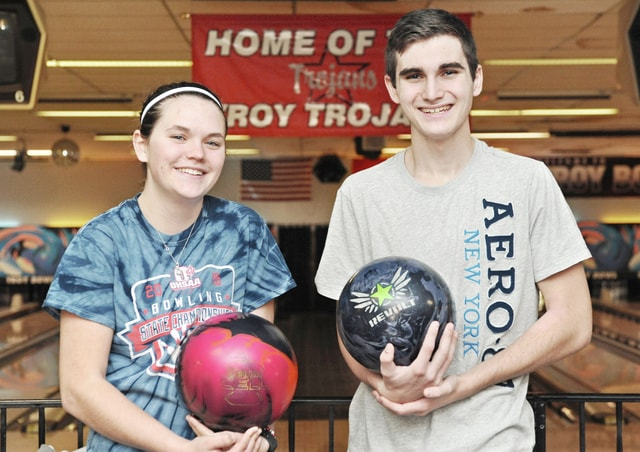 Anthony Weber | Troy Daily News Twin siblings Jenna and Aaron Stone, both juniors, continue to be the leaders of the Troy High School boys and girls bowling teams.