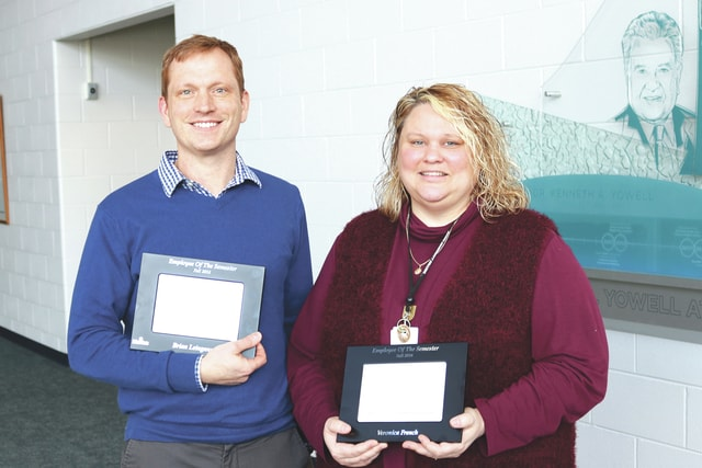 Provided photo Brian Leingang, associate professor of English, and Veronica French, academic project specialist for Academic Affairs, were named employees of the 2016 fall semester at Edison State Community College.
