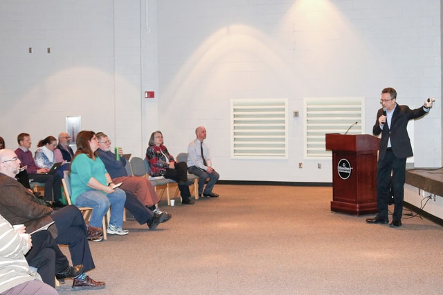 Provided photo Dr. Davis Jenkins addresses administration, faculty, and staff of Edison State Community College during a recent visit.