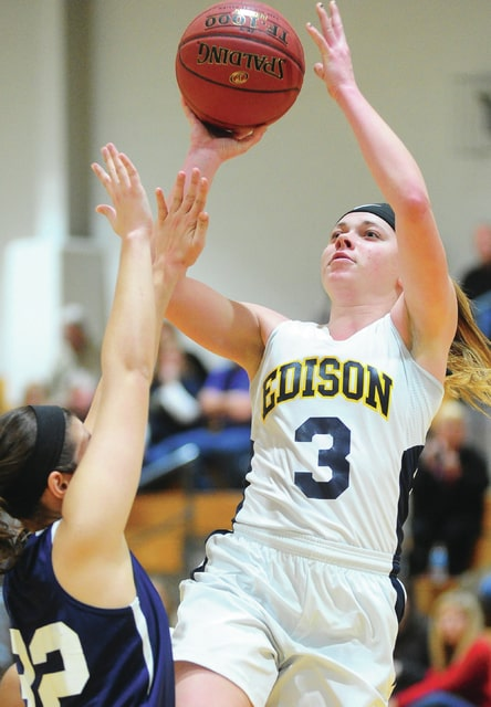 Mike Ullery | Daily Call Versailles graduate Lauren Monnin, 3, puts up a shot for Edison State Wednesday