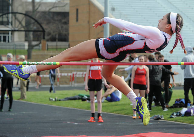 Mike Ullery | Daily Call Piqua's Ashley Ho clears the bar in girls high jump competition on Saturday.