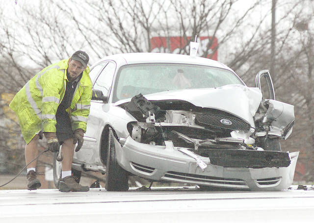 Anthony Weber | Troy Daily News Several vehicles collided at around 10 a.m. Friday on West Main Street in Troy. Troy Police and Fire departments responded to the incident that caused traffic to come to a near stand still for a while. No serious injuries were reported in the collision.
