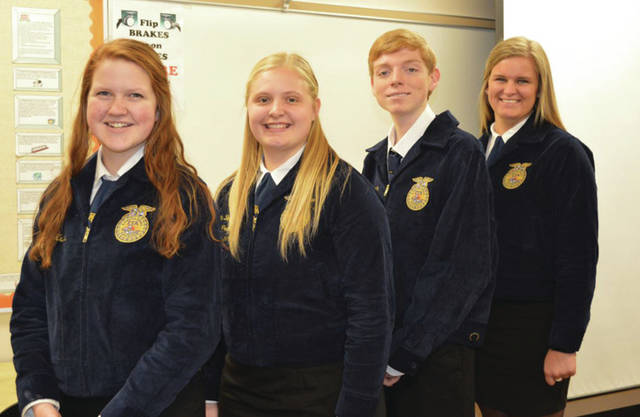 Provided photo Members of the Miami East-MVCTC FFA Chapter are Maci Krites, Katie Bodenmiller, Lane Mergler and Alyssa Westgerdes