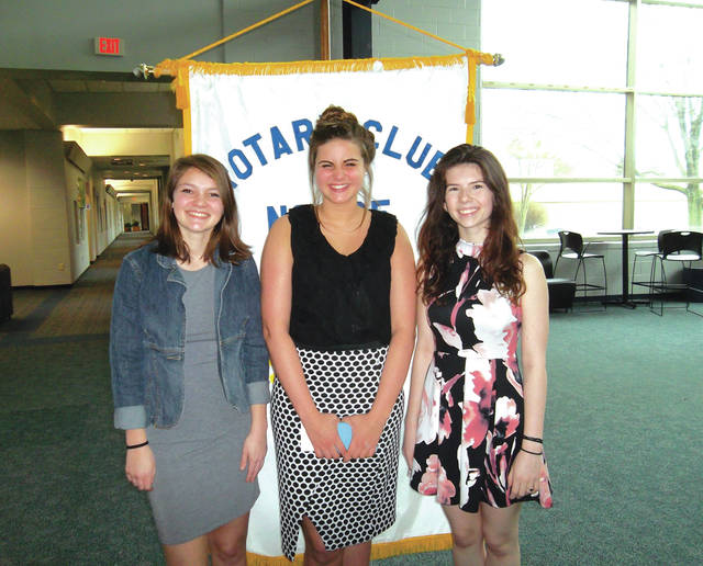 Provided photo Winners of the recent Piqua Rotary Four-Way Speech Contest are, left to right, Hannah VanGorden (third place), Darby Bubp (first place) and Tere Hogston (second place).