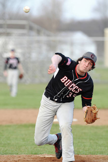 Ben Robinson/GoBuccs.com Covington's Tristin Sowers fires a strike Wednesday against Mississinawa Valley.
