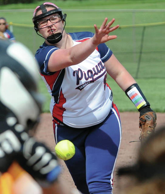 Mike Ullery | Daily Call Piqua pitcher Mariah Blankenship fires a strike.
