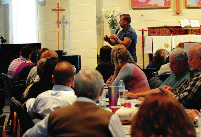 Mike Ullery | Daily Call Guest speaker Phil Chalmers addresses a capacity group on Thursday at the Miami County Victim Witness' two-day Victim's Rights Week Seminar at the First Lutheran Church in Troy.