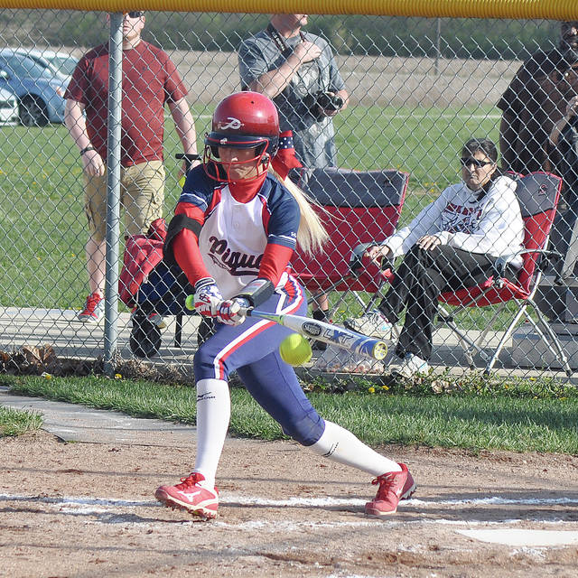 Rob Kiser/Call Photo Piqua's Lexi Gordon makes contact against Wayne Wednesday.