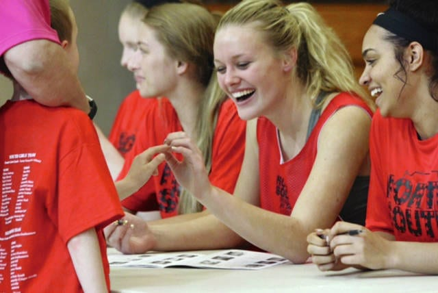 Photo Provided Maddie Wise smiles as she signs autographs at the Indiana North-South All-Star game.