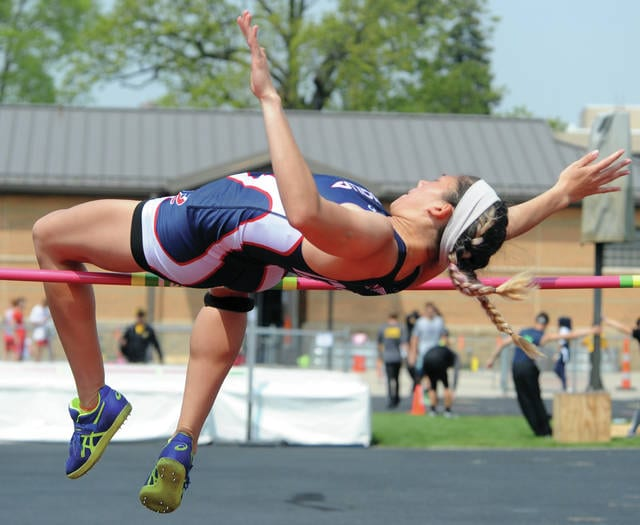 Mike Ullery | Daily Call Piqua's Ashley Ho clears the bar during Wednesday's GWOC track meet at Troy High School.