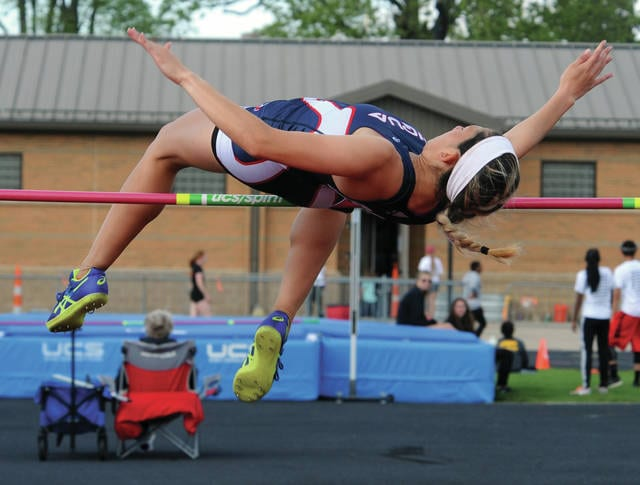 Mike Ullery | Daily Call Ashley Ho clears the bar on her way to winning a GWOC high jump title at Troy Memorial Stadium on Friday.