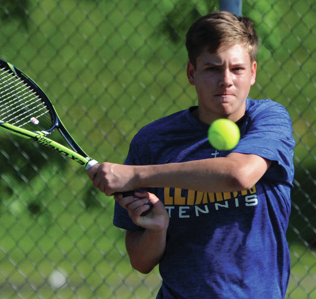 Mike Ullery   Daily Call Lehman's Griffin West hits a return shot during a Saturday match at Troy.