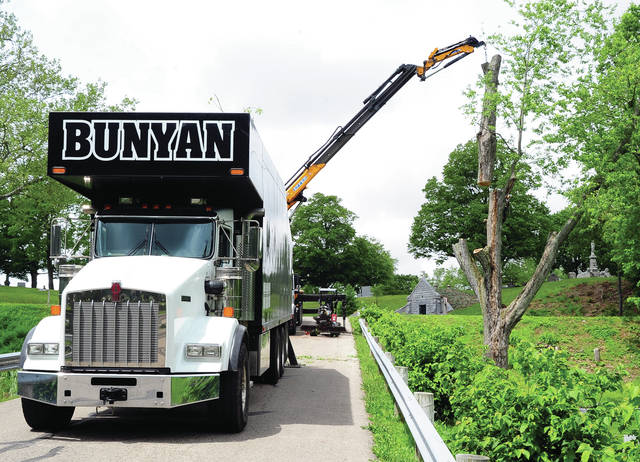 Mike Ullery | Daily Call Ethan Wilson Phillips uses a chain saw to cut a large portion of a dead tree at Forest Hill Cemetery on Wednesday morning. Phillips is an employee of Tree Care, Inc. out of Dayton.