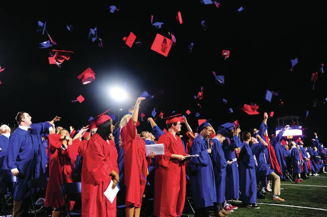 Mike Ullery | Daily Call That's all folks! The just-graduated Piqua High School Class of 2017 throws their caps in the air at the conclusion of Friday's commencement for the Class of 2017.