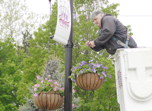 Anthony Weber   Troy Daily News Workers from the city of Troy, including Tim Larck, hang baskets of flowers throughout the downtown area Wednesday in Troy. According to Charlie Brown from the city's Parks Department, the baskets were designed by Renee Lavy and are filled with bubblegum and heavenly blue petunias.