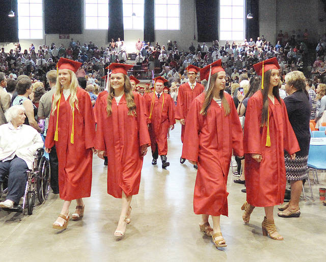 Anthony Weber | Troy High School Students of Troy High School march together while participating in the 2017 graduation exercises Saturday at Hobart Arena in Troy. The presentation of the class was given by Troy High School Principal Katherine Weaver.