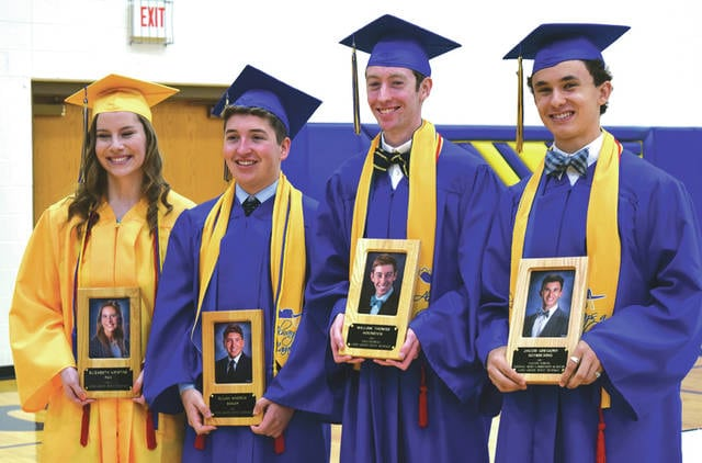 Provided photo Shown above are Lehman Academic Hall of Fame inductees, left to right, Elizabeth Pax, Elijah Baker, salutatorian William Hoersten, and valedictorian Jacob Schmiesing.
