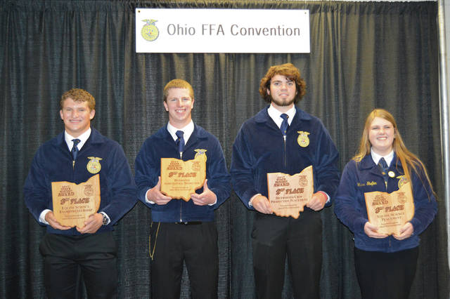 Provided photo Students from the Covington-UVCC FFA chapter placed very well at the 89th Ohio FFA State Convention. Picture from left to right are Joey Schmelzer, Ben Kuether, Trevor Miller, and Hanna Shafer.