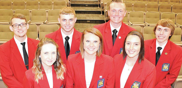 "Provided Photo The SkillsUSA chapter at Upper Valley Career Center was named among the top 24 SkillsUSA chapters nationally as a ""Model of Excellence."" Pictured are senior officers and national officers: front row, left to right: Emilie Carter, Hadley Johnson, Sabrina Black; back row, left to right: Nicolas McGovern, Dylan Hensley, Keaton Pfeiffer, William Woodyard."