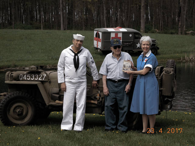 Provided photo Producer Diana Spitler with uncle, Marion Adams, World War II veteran and brother, Douglas Drieling, cameraman and actor.