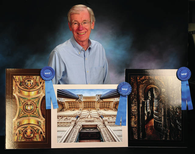Mike Ullery | Daily Call Local professional photographer Mike Underwood with three of his Blue Ribbon images from this spring's Professional Photographers of Ohio print competition.