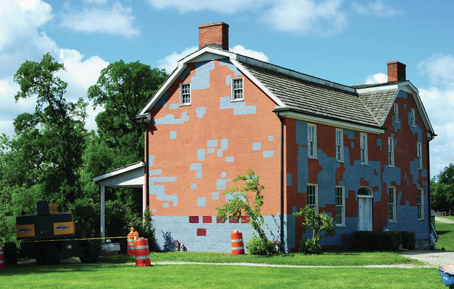 Mike Ullery   Daily Call Re-painting of the John Johnston farm house is under way at the John Johnston Farm & Indian Agency. The project began this week with removing loose paint and priming. Window glazing will begin after the primer coat is applied followed by the final coat of paint. The six darker red areas at the bottom of the side of the house are color samples to determine which color most closely matches the original brick of the house with was built in 1815. The contractor for the project is Quality Masonry Co. out of Marion, OH. The project is being paid for thanks to a grant from the Miami County Foundation and the Ohio History Connection.