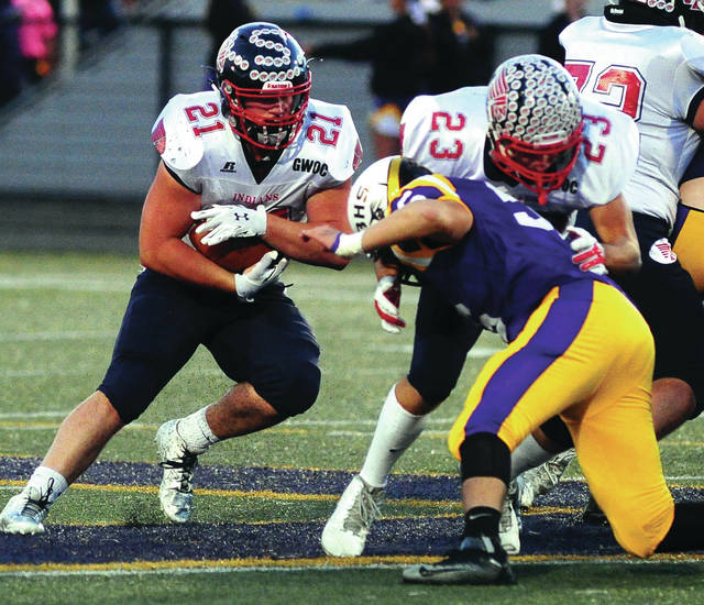 Mike Ullery | Daily Call Running back Allen Schrubb (21) will be one of three former Piqua players participating in the Miami Valley Football Coaches Association All-Star Game at 7 p.m. Friday at Centerville High School.