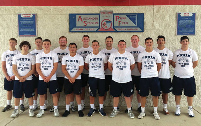 Contributed photo Piqua football Lift-a-thon winners for 2017 include, Makeegen Kuhn, 5th place middleweight; James Congdon, 3rd place middleweight; Colin Mills, 3rd place lightweight; Jacob Bushnell, 1st place lightweight; Caden Clark, 1st place heavyweight; Arturo Mendoza, 4th place middleweight; Hayden Schrubb, 2nd place lightweight; Micah Karn, 5th place middleweight; Ben Schmiesing, 1st place middleweight; Derek Hite, 2nd place heavyweight; Cale Meckstroth, 4th place lightweight; Grant Toopes, 5th place heavyweight, and Zayne Arbogast, 4th place heavyweight. Not pictured is Tyler Bolin who earned 2nd place in the middleweight class. The PHS football coaching staff would like to thank all those who helped to make the 2017 Lift-A-Thon a success through their contributions.