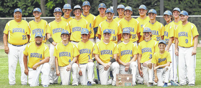 The Russia Raiders are shown posing for a team photo with the regional championship trophy after they edged Newark Catholic 3-2 in the finals on Saturday. They will play in the Division 4 state tournament Friday at 1 p.m. against Dalton in the semifinals. Russia will be making its first appearance in the state tournament in 42 years.