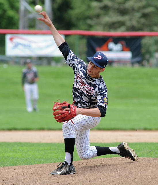 Mike Ullery/Call Photo Piqua Post 184 pitcher Austin Arnold threw a shutout in the July 4 tournament opener against Three Oaks.