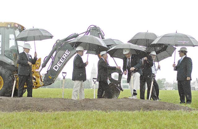 Anthony Weber | Troy Daily News Officials gather for a groundbreaking and design unveiling for Kettering Health Network's Troy Hospital on Thursday in Troy.
