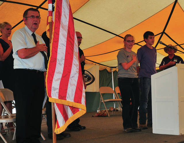 Mike Ullery | Daily Call The Miami County Fair Veterans Ceremony kicks off with the Pledge of Allegiance, led by Junior Fair Board President Kacie Tackett.