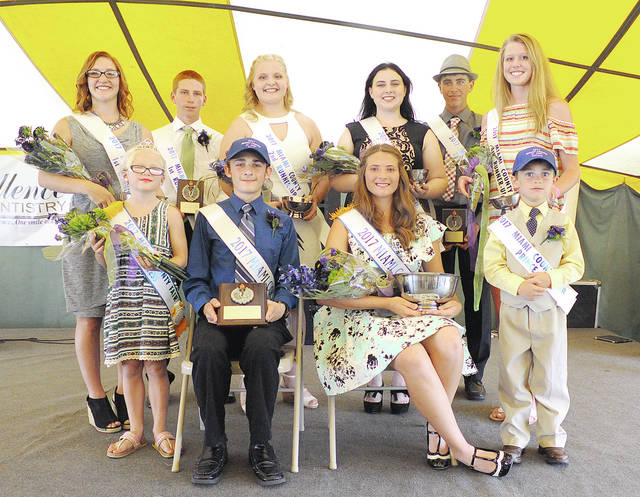 Anthony Weber   Troy Daily News The Miami County Fair Royalty was announced during the 2017 Miami County Fair Junior Fair King and Queen, Prince and Princess Contest on Friday under the Entertainment Tent at the Miami County Fairgrounds. The royalty includes front row from left: Miami County Fair Princess Summer Goecke, Miami County Fair King Thomas Burkett, Miami County Fair Queen Abigail Hissong and Miami County Fair Prince William Case. Queen contestants back row from left include: first runner-up Cheyenne Parke, second runner-up Katie Bodenmiller, third runner-up Alyssa Edgington and fourth runner-up Liza Bair. King contestants back row from left include: first runner-up Michael Bair and second runner-up Cody Durst.