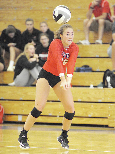 Anthony Weber/Troy Daily News Troy's Alexa Holland passes the ball Saturday against Miami East.
