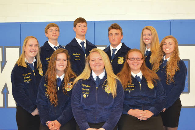 Provided photo Members of the 2017-18 Miami East-MVCTC FFA Officer Team are (front row, left to right: Rachael Hodge, Kylie Blair, Emily Thimmes; (back row, left to right) Kearsten Kirby, Dylan Hahn, Alex Isbrandt, Alex Dinardo, Liza Bair, Emma Younce.
