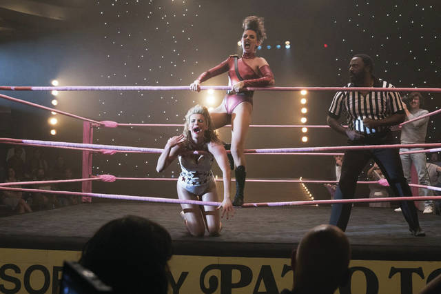 "Courtesy of Netflix Ruth Wilder (Alison Brie) is Zoya the Destroyer as she takes on Debbie Eagan (Betty Gilpin) as is Liberty Bell in the Netflix original series ""GLOW."""