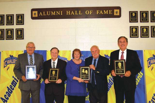 Provided photo The Lehman Catholic High School Alumni Association proudly inducted five new members to the Lehman Catholic Hall of Fame at the school's 11th annual nduction Ceremony, held Saturday, Aug. 5. The five inductees are, left to right: Kenneth H. Schlater, John E. Ferman, Joyce E. Hughes, Michael J. Hughes, and John M. Garmhausen.