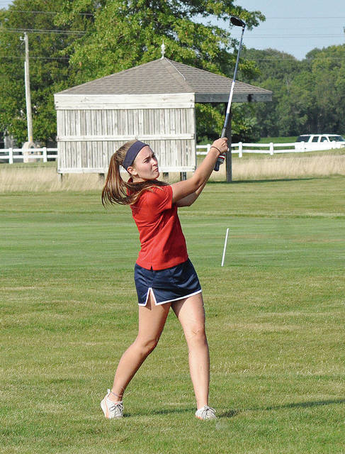 Rob Kiser/Call File Photo Piqua girls golf sophomore Adde Honeycutt celebrated her 16th birthday Tuesday by shooting a career low score of 49 and taking medalist honors in a 210-235 victory over Franklin Monroe at Turtle Creek Golf Course.