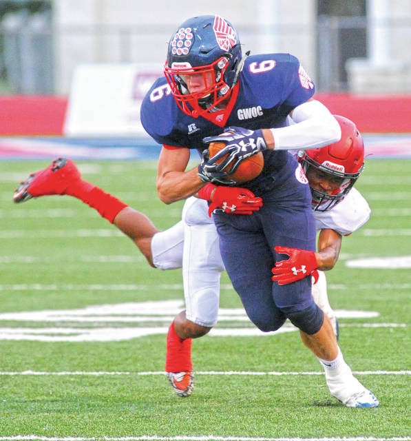 Mike Ullery/Call Photo Hayden Schrubb had a big night for Piqua Friday against Trotwood-Madison.