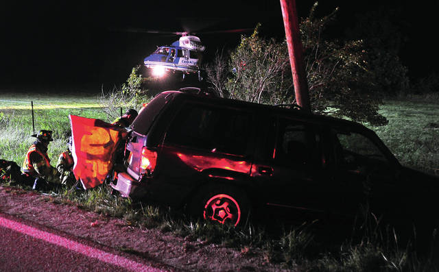 Mike Ullery   Daily Call CareFlight lands in a nearby field after being summoned to a one-vehicle crash on East St. Rt. 41, between Children's Home Road and Shaggy Bark on Friday night. The crash happened around 8:45 p.m. when and SUV ran off the road and struck a utility pole. First responders indicated that the victim was ejected from the vehicle and suffered a possible head injury. No further details are available.
