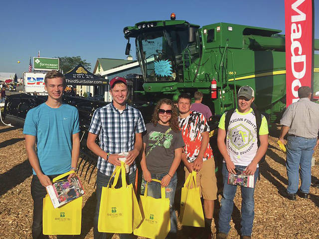 Provided photo Edison State Community College students Wyatt King, Logan Ressler, Kayla Seman, Andrew Rowland, and Wyatt Baker attend an agriculture tradeshow.