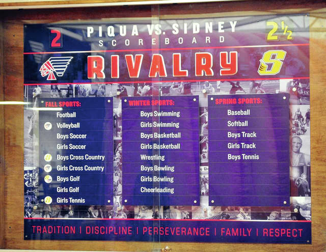 Mike Ullery/Call Photo A photo of the Piqua-Sidney scoreboard from last week. The competition was tied 3-3 heading into Wednesday's girls soccer game at Sidney.
