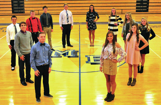 Mike Ullery | Daily Call Miami East has named their 2017 homecoming court. Clockwise from bottom left: Graham Shore, Jackson Tucker, Jackson Davis, Austin Kearns, Alex Isbrandt, Jack Runner, Kyndall Hellyer, Haley Demmitt, Emily Rowley, Hailey Baker, Anna Jacoment, and Macy Fellers. The Vikings' homecoming game is Friday against Bradford. The homecoming dance will be held on Saturday at the Board gym.
