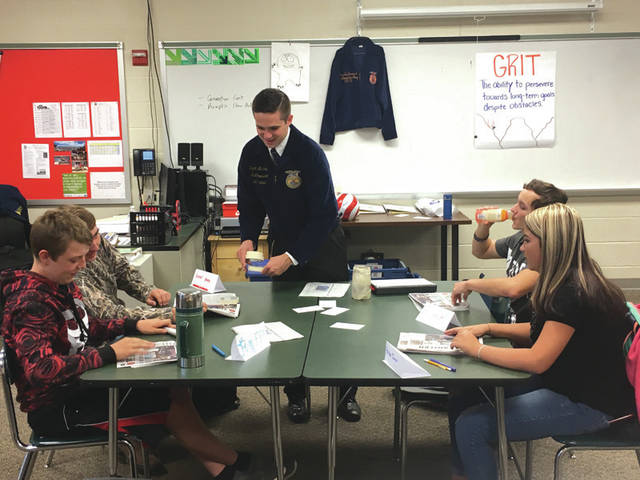 Provided photo Bradford-UVCC FFA students participate in an activity during a visit from Ohio FFA Association President Ryan Matthews on Sept. 12.