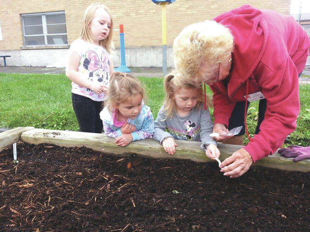 Provided photo Master Gardener Toni Lyman teaches students at the Center for Early Learning at Piqua Catholic how to plant seeds. The students are, left to right: Kathryn Davis, Alexa Larger and Nora Bates.
